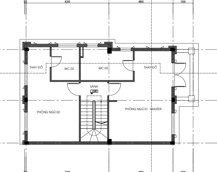 Mặt bằng thiết kế tầng 2 biệt thự song lập dự án seoul Ecohome